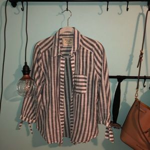blue and white striped button up shirt